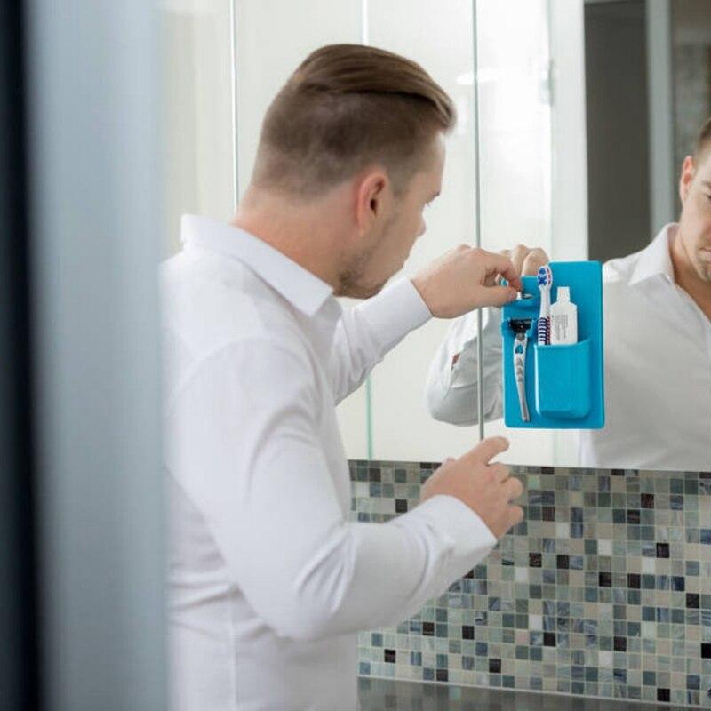 New 2018 Acquisitions Silicone Organizer Bath Powerful Toothbrush Holder Toothbrush holder Silicone for Mirror Bathroom shower