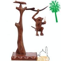 Pakistan hand carved monkey pick bananas art antique wooden furniture wooden decoration decoration monkey
