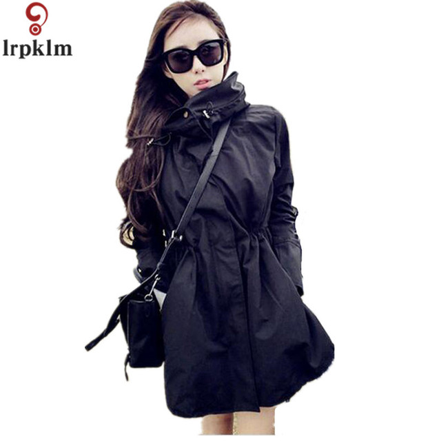 2017 New Fashion Casual Slim Windbreaker Plus Size Long Trench Coat The High Quality Autumn And Winter Black Hooded Women YY316