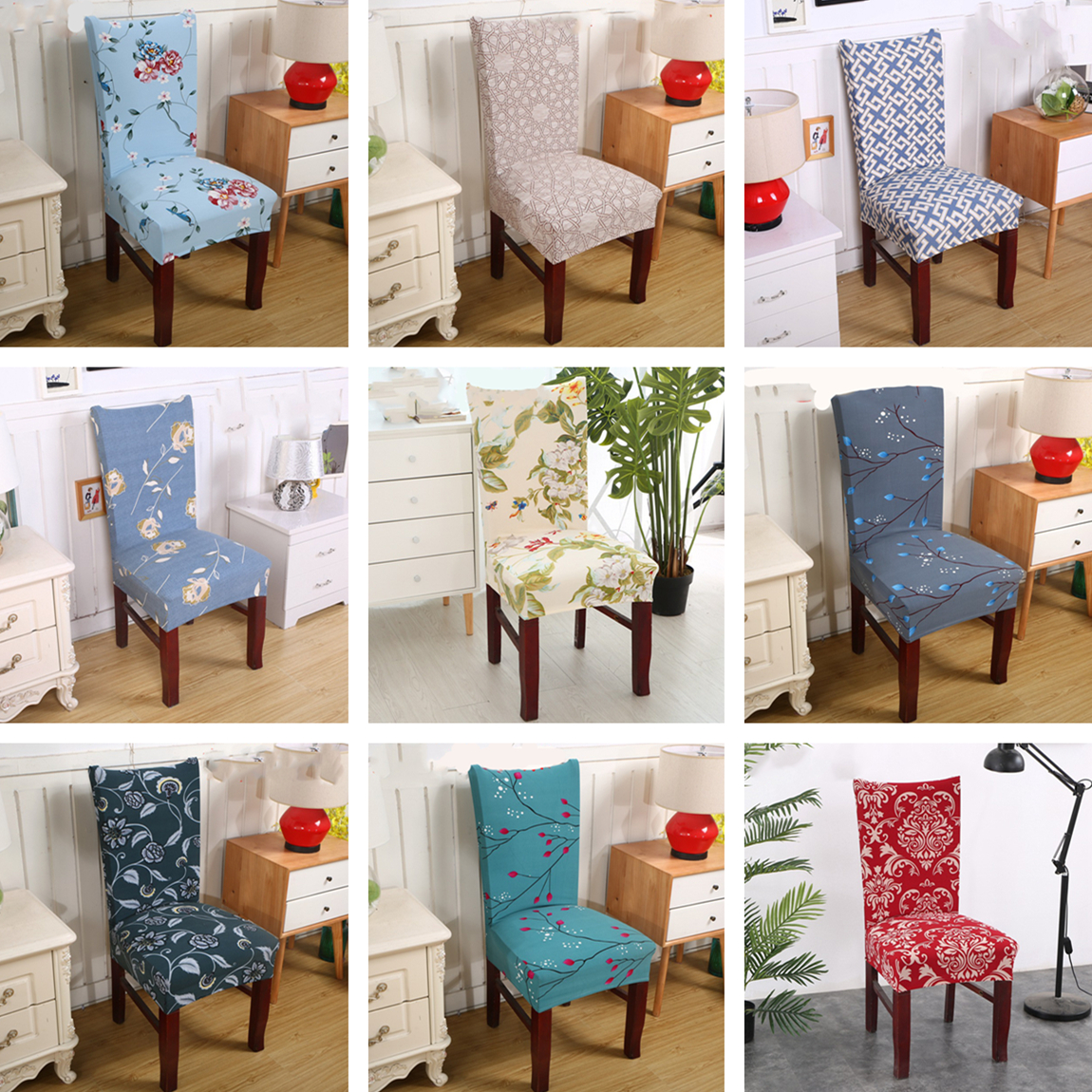 Beach Style Printing Dining Chair Cover Removable Elastic Seat Protector For Hotel Banquet Home Wedding Decoration