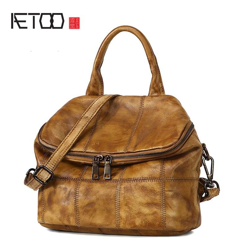 AETOO Original hand-wipe package European and American fashion  retro leather multi-functional backpack european american classic fashion ultra textured halfmetal retro sunglasses for men women unisex with original box uv400 no 2514