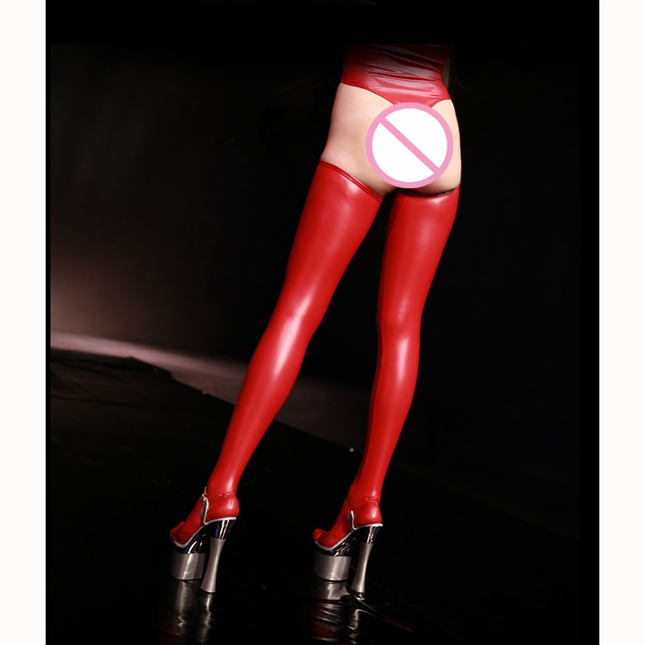 Image 2 - Plus Size Thigh High Shiny Sexy Stockings Black Oil Wetlook Over Knee Stockings Leather Latex Medias Negras Chaussette Haute RedStockings   -