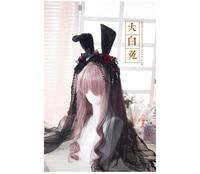 Lolita Gothic Rose Headband Rabbit Ear Lace Hair Gert Lolita handmade custom O
