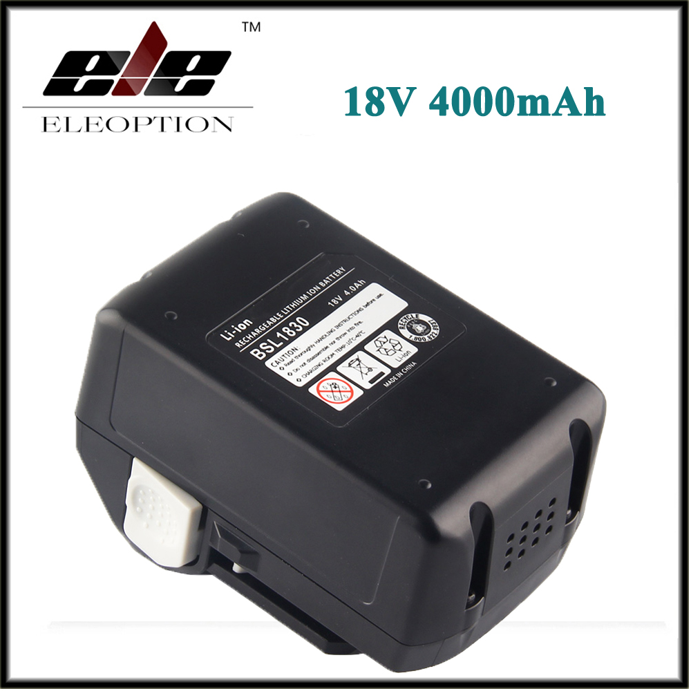 eleoption 18v 4000mah li ion rechargeable power tool battery for hitachi bsl1830 bsl1840 330067