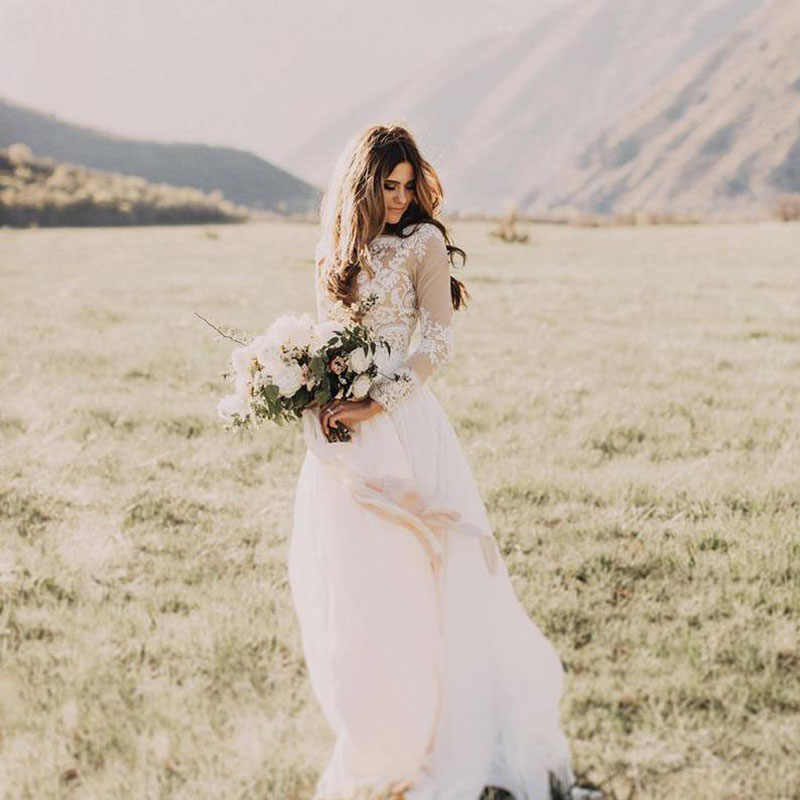 LORIE Boho Long Sleeve Wedding Dress 2019 Robe de mariee Vintage Lace Top New Bridal Dress Puffy Chiffon Wedding Dresses