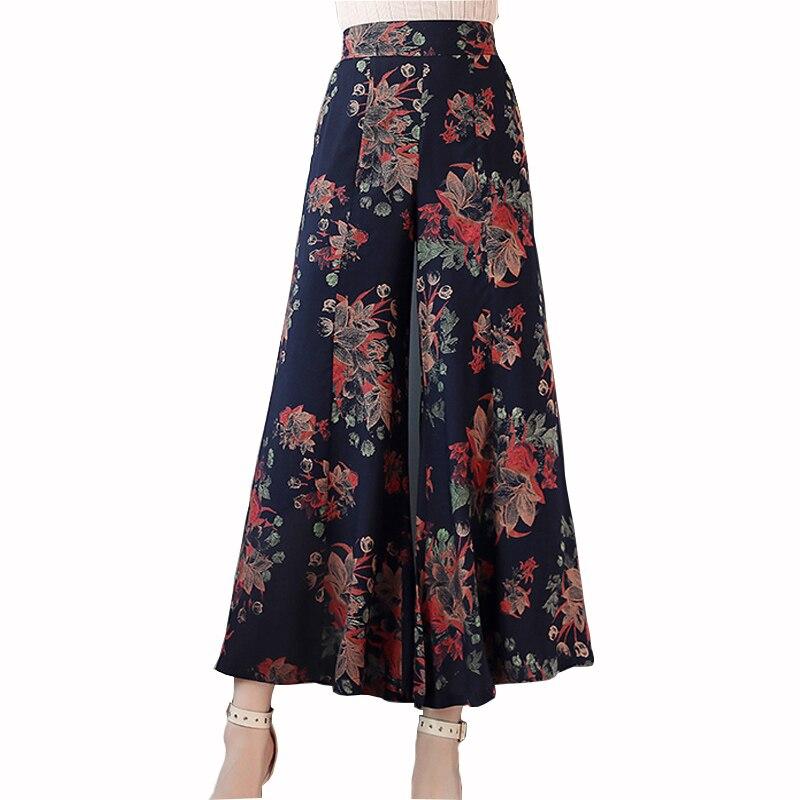 2019 Women Summer   Pants   High Waist Pleated   Wide     Leg     Pants   Women Print Loose Casual Ladies Ankle Length Trousers