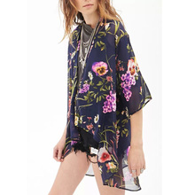Nice Spring Women Kimono Elegant Chiffon Cardigan Floral Printed Long Shirt Batwing Sleeve Shawl Shirt Temperament Blouse BM4458