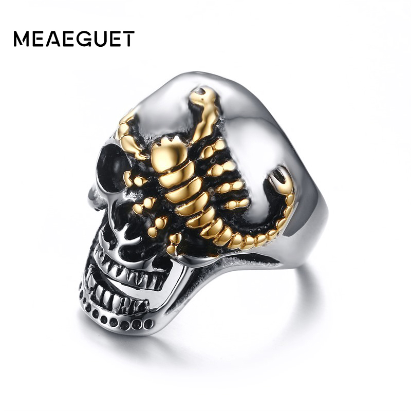 Meaeguet 30MM Wide Men's Stainless Steel Ring Crawling ...