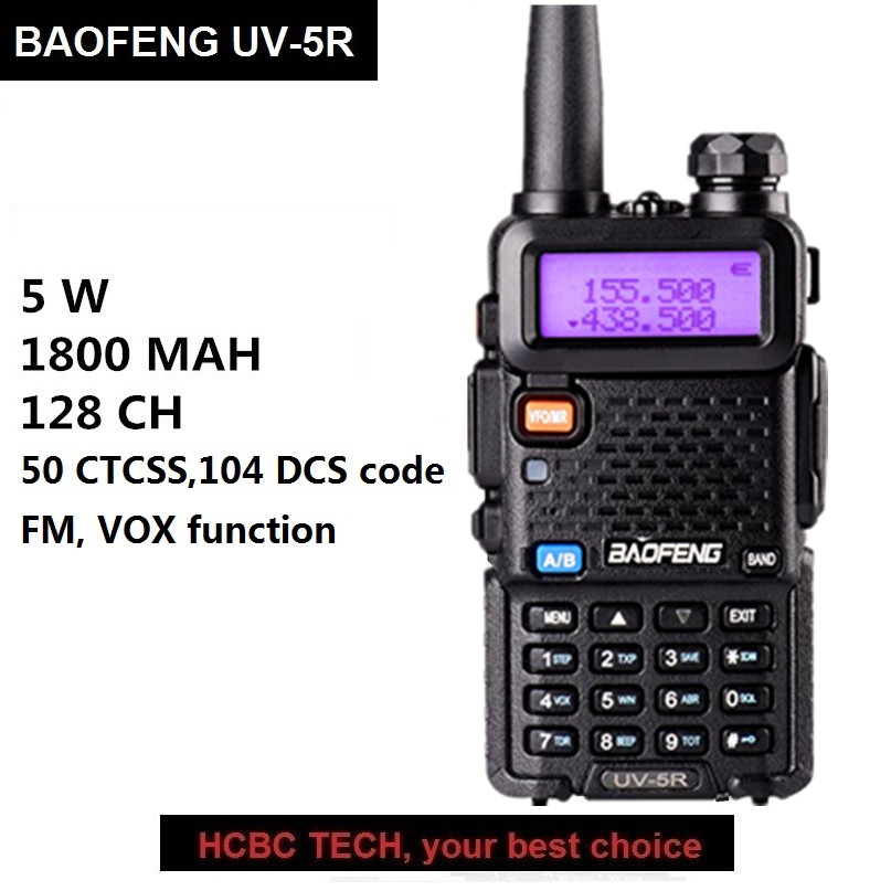 1PC Baofeng UV-5R Walkie Talkie UHF VHF Portable CB Ham Radio Station Amateur Police Scanner Radio Intercome HF Transceiver UV5R image