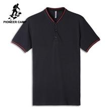 43b8e93c74 Pioneer Camp henry collar polos camisa hombres marca-ropa contraste de  color respirable polos Hombre calidad puro algodón ADP802.