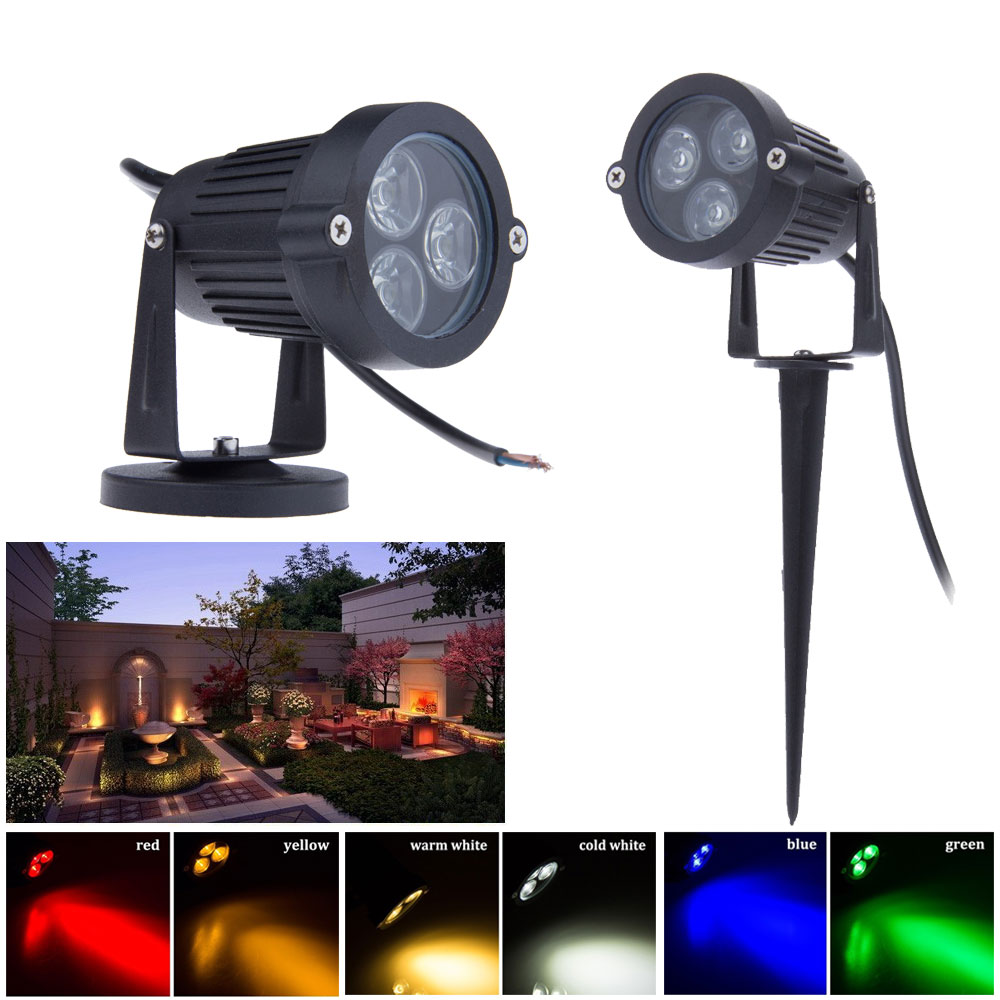 Outdoor Led Garden Spot Light RGB 3W Spot Garden Light 12V 220V 110V Garden Spotlight Spike For Yard