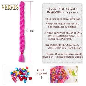 Плетеные волосы VERVES, одна шт, 82 дюйма, синтетическое тепловое волокно, коса 165 г/шт., чистый цвет, вязаные крючком, Джамбо косы, волосы для наращивания