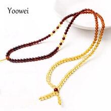 Yoowei 3mm 55 cm Bernstein Kette Halskette für Frauen Echte Runde Tiny Diy Perle 100% Reale Natürliche Baltischen Bernstein schmuck Großhandel