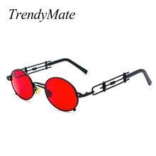 2018 Nouveau Petit Cadre Punk lunettes de Soleil Hommes de Haute Qualité En  Métal Ovale lunettes de Soleil Marque Designer Rétro. 323317a4130b