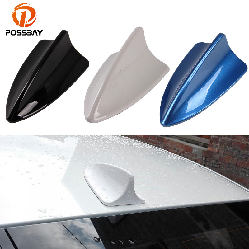 POSSBAY Car Universal Shark Fin Roof Decorative Decorate Antenna Aerial  Black/Blue/White Antennas Sticker for Nissan Honda Ford