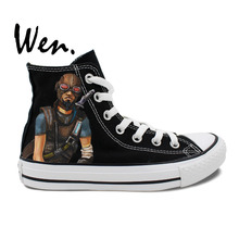 Wen Hand Painted Sneakers Design Custom Borderlands Mordecai Man Woman's High Top Canvas Shoes Christmas Gifts