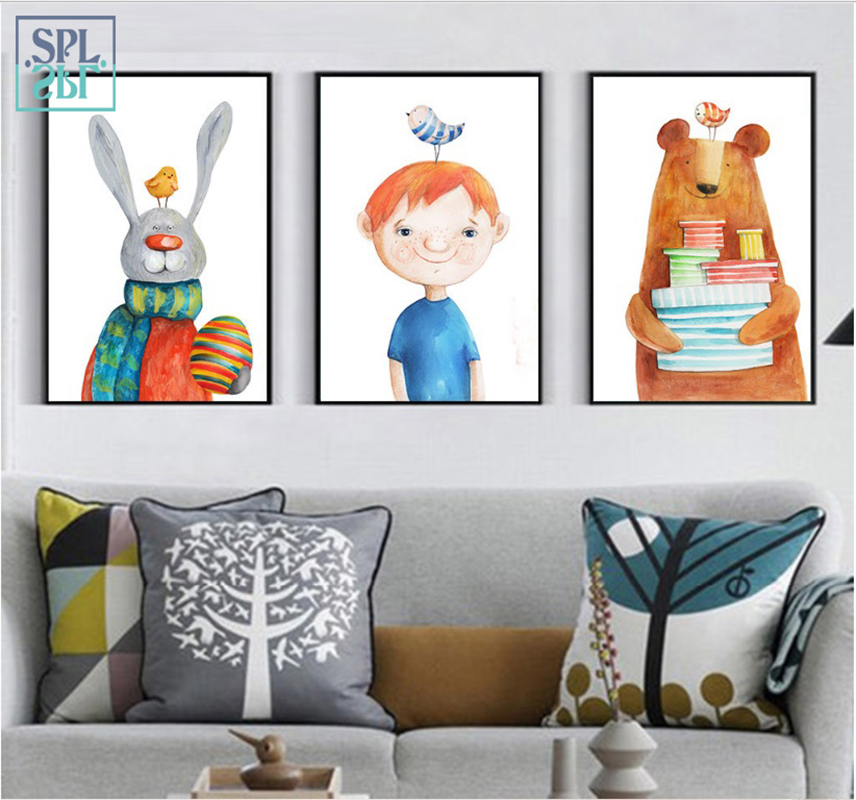 SPLSPL Cartoon Watercolor Rabbit And Bear Wall Pictures Canvas Art Painting And Poster Home Decoration No Frame Ornamentation