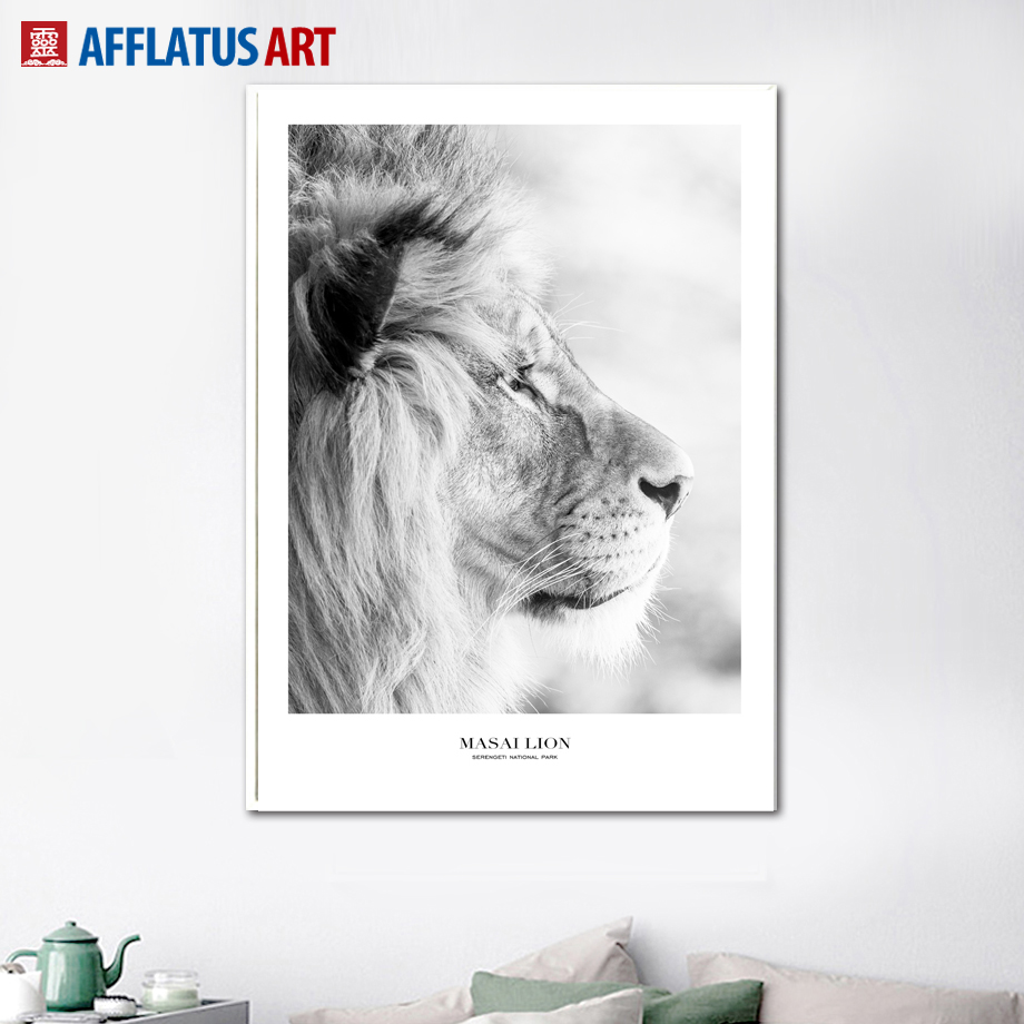 Black White Lion Happy Quotes Wall Art Canvas Painting Nordic Posters And Prints Canvas Art Wall Pictures For Living Room Decor in Painting Calligraphy from Home Garden