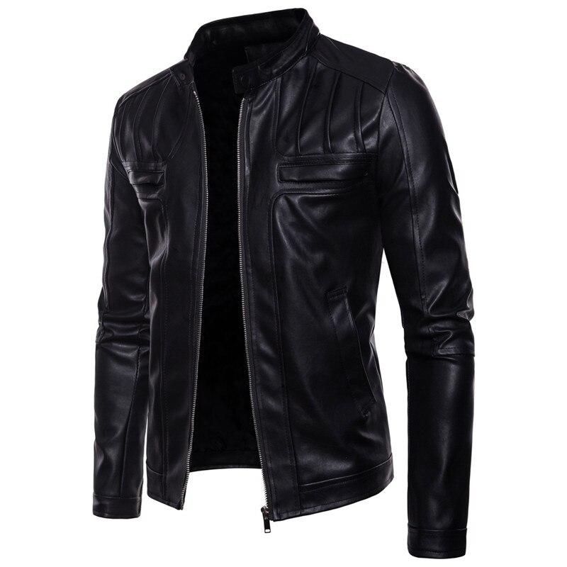 Коричневый PU кожаный пиджак мужской Slim Fit пальто воротник стойка 2019 весна осень куртки сплошно