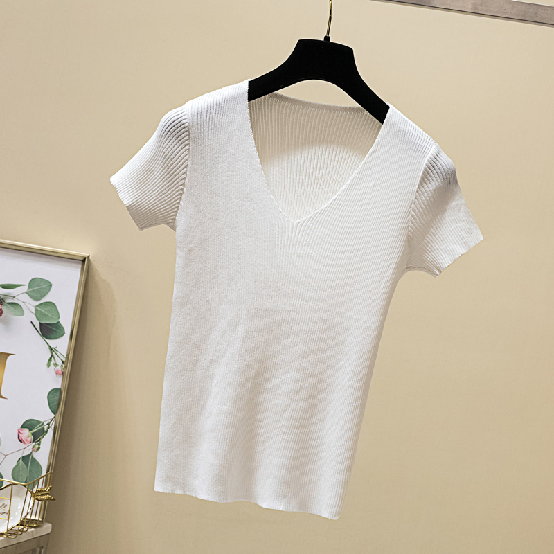 4b 2019 women s summer new slim slimming sweater wild wild V neck T shirt yue95zhou