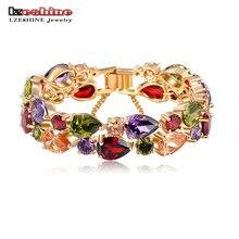Lzeshine pulseras y brazaletes 2016 nuevo colorido aaa circón encanto pulsera de oro pulsera de las mujeres de moda de la joyería pulseira feminina