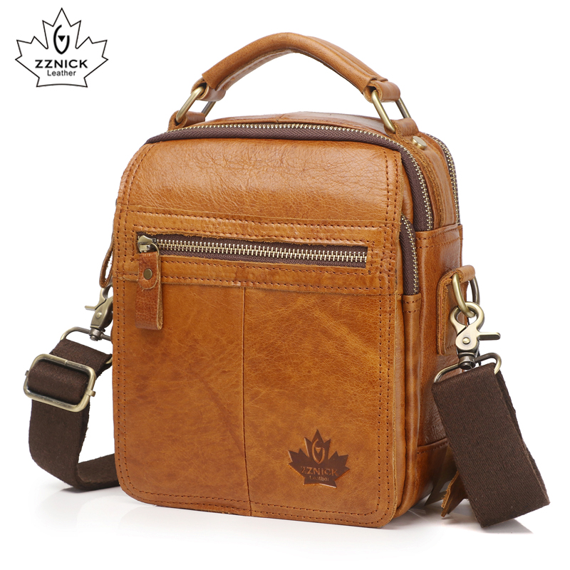 Genuine Leather Men's Bags male Crossbody Bags strap Small Casual Men Leather messenger bag shoulder Flap Pocket bag ZZNICK 2017 summer metal ring women s messenger bags solid scrub leather women shoulder bag small flap bag casual girl crossbody bags