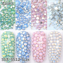 Zziell 1440pcs ss3-ss12 Crystal Colorful Opal Nail Art Rhinestone Decorations Glitter Gems 3D Manicure Books Accessory Tools