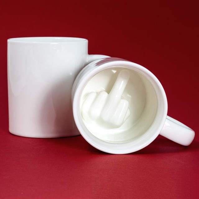 Creative White Middle Finger Style Cup Novelty Mixing Coffee Milk Cup Funny Ceramic Mug Enough Capacity Water Cup Drop Shipping 4