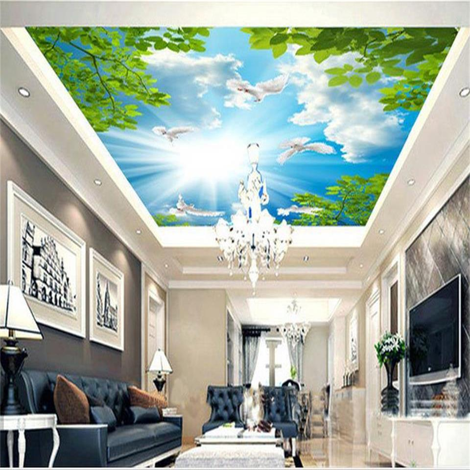 custom 3d photo wallpaper mural living room ceiling blue sky white clouds white pigeon 3d picture photo wallpaper for walls 3D custom wall mural large wall painting blue sky and white clouds ceiling wallpaper murals living room bedroom ceiling mural decor