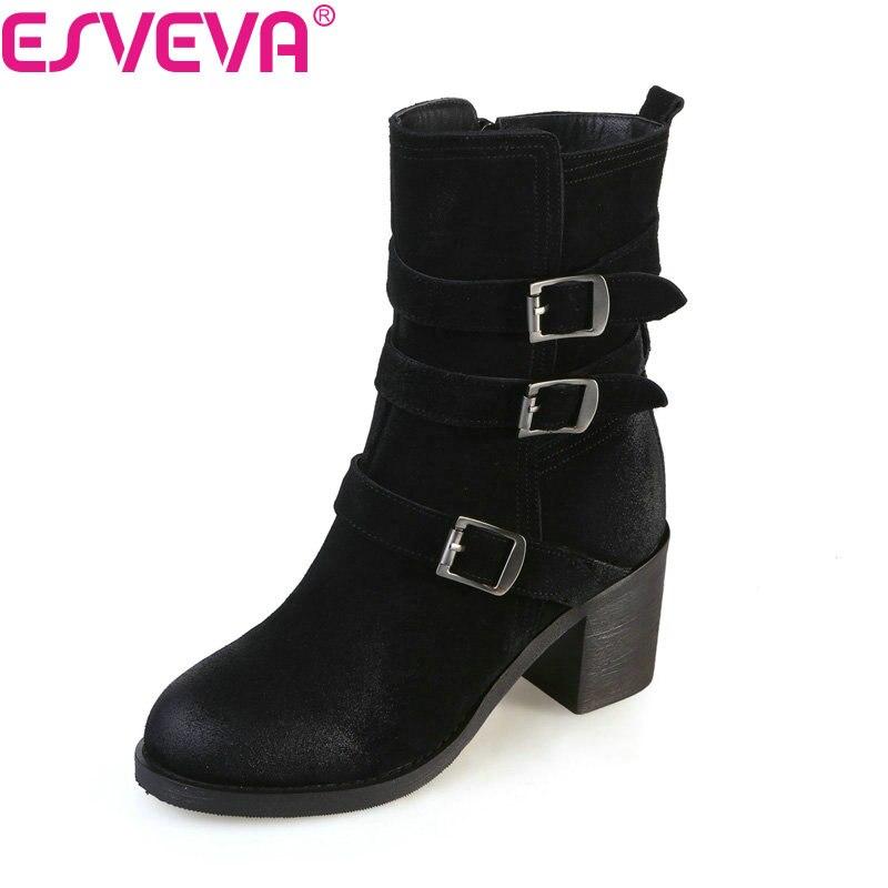 Esveva 2018 Women Boots Zipper Square High Heels