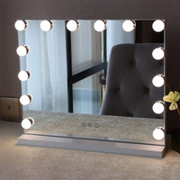 50*42cm Hollywood led vanity light mirror with 14 led bulbs make up led mirror WW/NW/CW color temperature adjustable