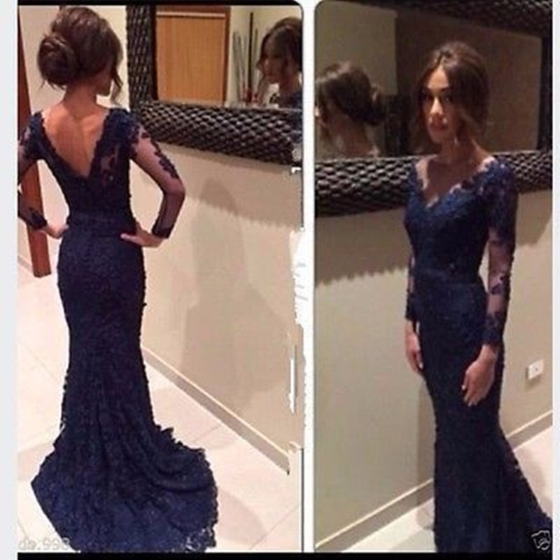 vestido de festa 2018 Navy Blue Lace long   Prom     dresses   With Sheer Long sleeves Mermaid   Prom   Gowns Custom Made Evening   Dresses