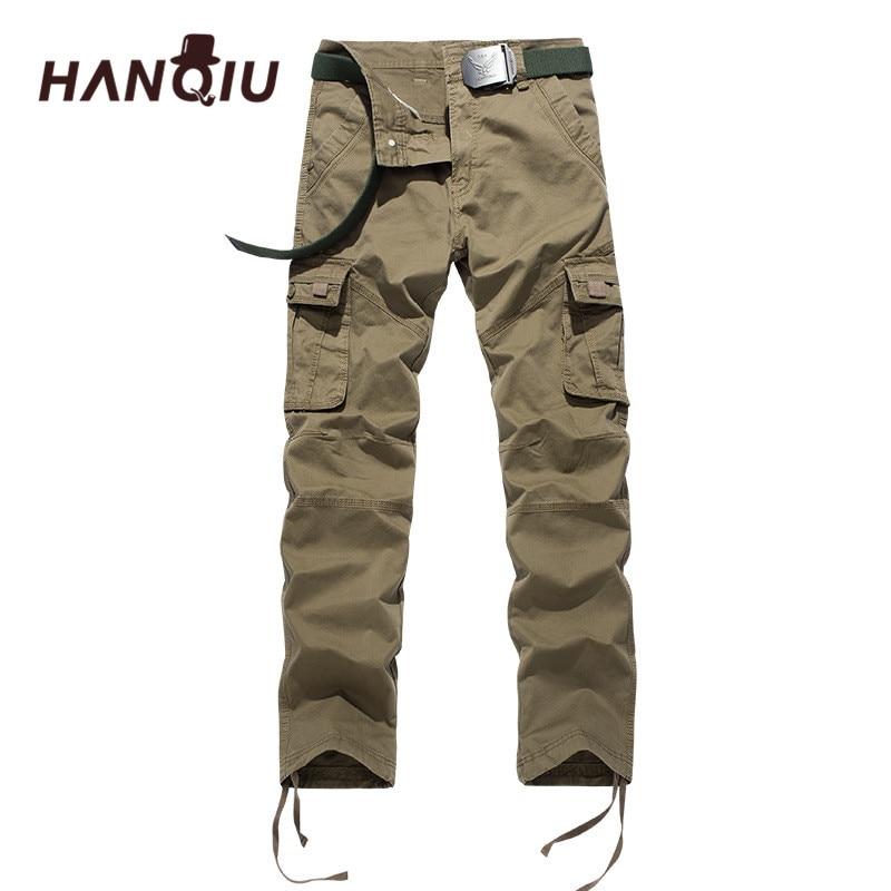 HANQIU Casual Pants Ribbon Male Trousers Men Joggers Military Tactical Mens Plus-Size