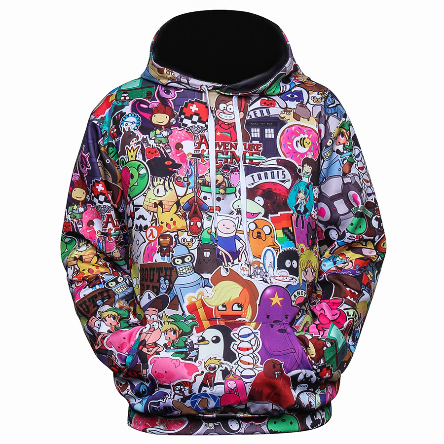 3D Hoodie Anime Full Printed New Fashion Men's Sweatshirt Painting 4XL Hiphop Streetwear Hoody Long Sleeve Big Size Navidad