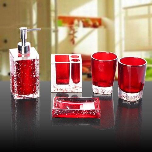 Ice Patterned Elegant Bathroom Sets Fashion Luxury Bathroom - Red bathroom accessories sets