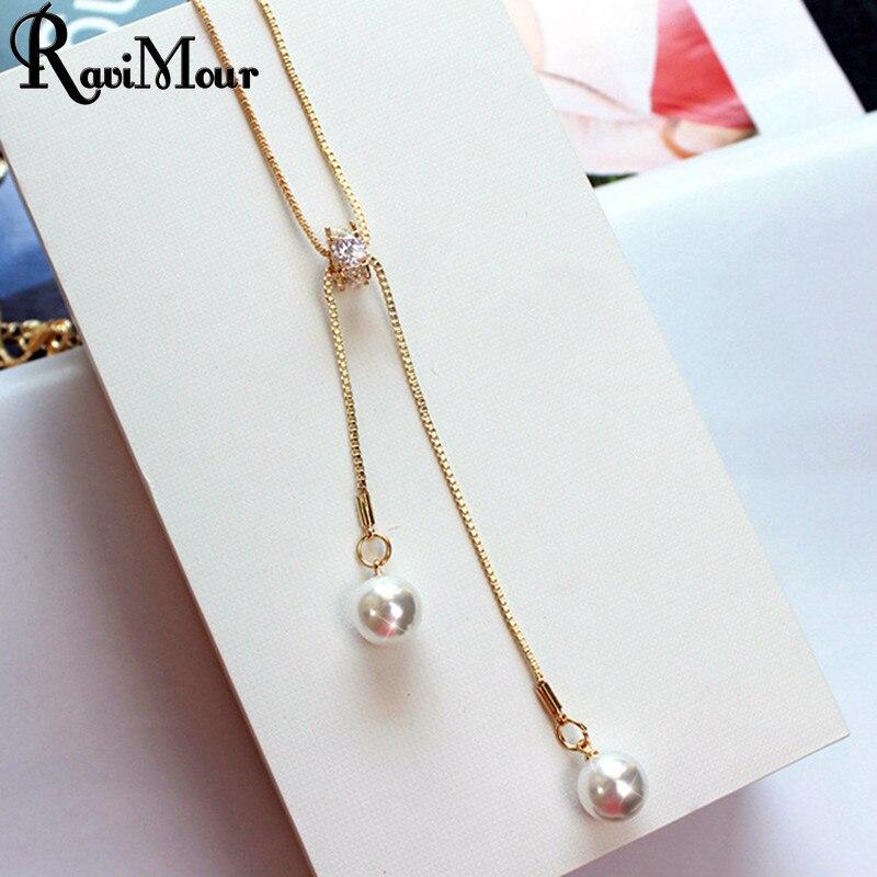 RAVIMOUR Simulasi Pearl Jewelry Panjang Kalung & Liontin Emas Perak Warna Rumbai Kalung untuk Wanita Zircon Chokers Collier