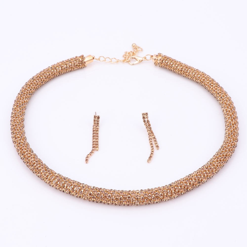 Crystal Choker Necklace with Matching Earrings Jewelry Set