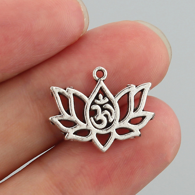 Aliexpress buy 20 pcs antique silver charms lotus flower om 20 pcs antique silver charms lotus flower om ohm aum yoga pendants for jewelry diy making mightylinksfo