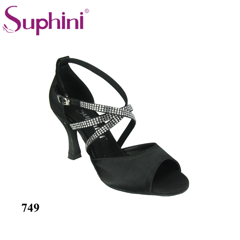Free Shipping Suphini Soft Sole Latin shoes Black Women Satin Latin Dance Shoes Salsa Dance Shoes for Women цена 2017