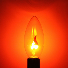 Top Quality E14 3W Energy Saving Retro Fire Flame Candle Tail Edison Light Bulb Lamp Chandelier Decor Red 220V