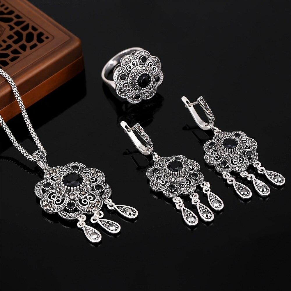 HENSEN Vintage Turkish Jewellery Antique Silver Plated Fashion Black Rhinestone Flower Jewelry Sets For Women