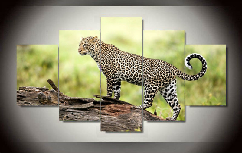5 Panel Modern Printed African Leopard Canvas Art Oil Painting Picture Cuadros Home Decor For Living Room Mordern art GA1390