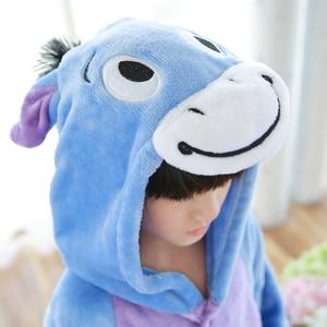 Image 5 - Kids Kigurumi Children pajamas Winter Flannel Animal pajamas one piece Rabbit Totoro Stitch Panda Cosplay baby Boy girl pyjamas