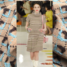 Limited Italy imports Small sweet style tweed wool woven tartan jacquard fashion fabric for coat tissu au meter bright cloth DIY