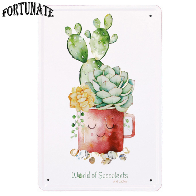 New Cute Succulent Plants Tin Sign Metal Signs Home Decor Vintage