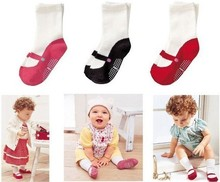 COMBI Anti-Slip 3 pairs/ lot Free Shipping 100% New 3 colors Baby Socks Baby Product Child's Cotton Socks Baby Wear