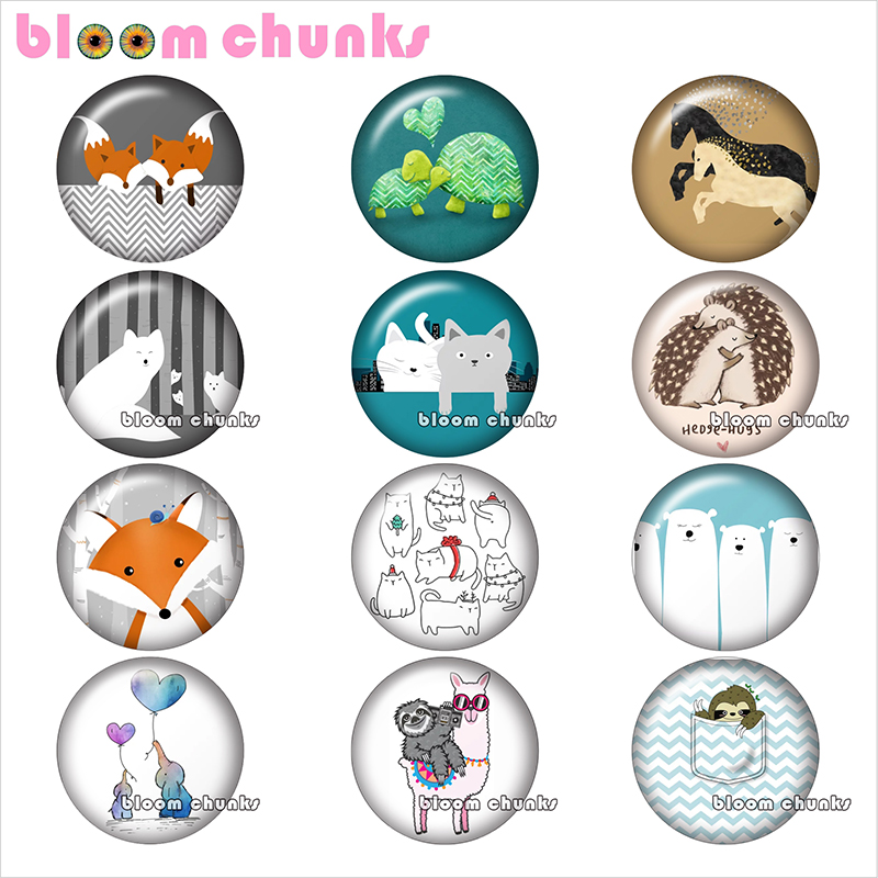Fox Horse elephant Animal love Round photo glass cabochon demo flat back Making findings 12mm/18mm/20mm/25mm TL1058