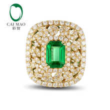 CaiMao 1.21ct Natural Emerald 18KT/750 Yellow  Gold  0.76ct Round Cut Diamond Engagement Ring Jewelry Gemstone