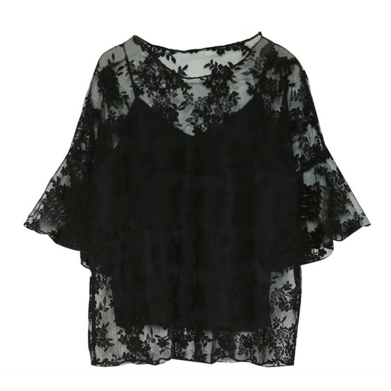 Summer Women Fashion Blouse Half Sleeve O-Neck Blouse Shirt Floral Embroidered Chiffon Blouse Casual Female Top