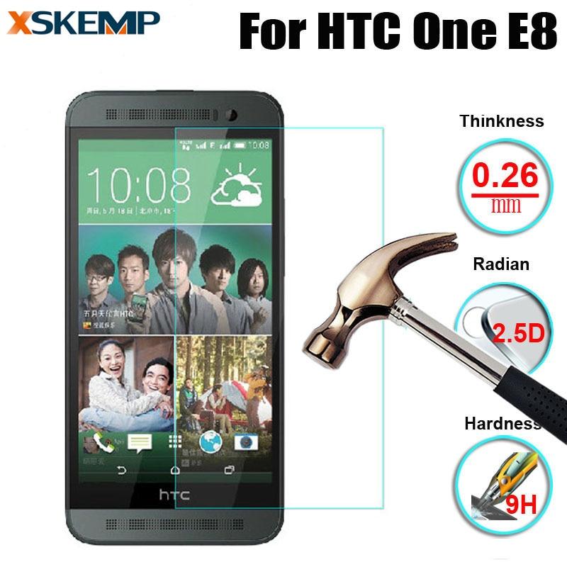 For HTC One E8 No Fingerprint 0 26mm 9H Transparent Tempered Glass Premium Ultra Clear Screen